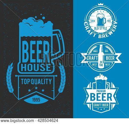 Set Styled Label Of Beer. Vector Illustration