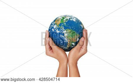 Ecology Concept : Hand Holding Blue Earth On White Background. (clipping Path) (elements Of This Ima