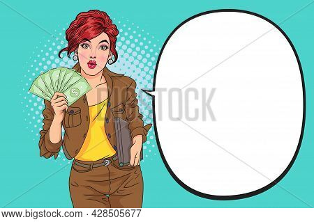 Online Betting, Earnings On Internet. Positive Woman Pointing At Money, Freelancer Showing Us Dollar