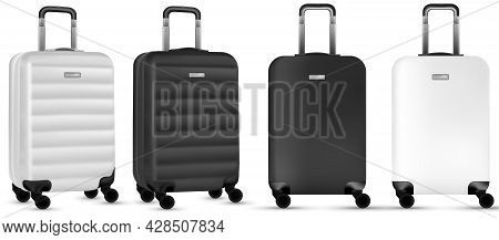 Trip Isolated. Set Of Silver And Black Travel Plastic Suitcase Or Vacation Baggage Bag On White Back