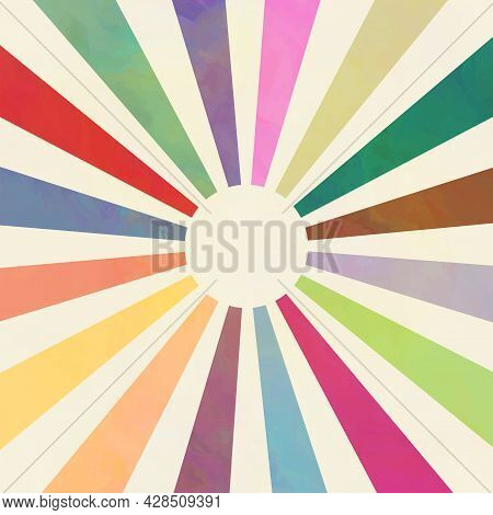 A Simple, Minimalist Style Design Of The Summer Sun With Rays In Various Colors.