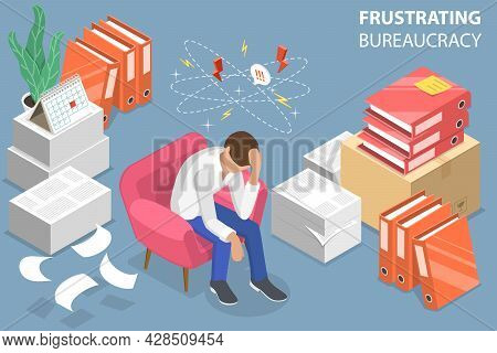 3d Isometric Flat Vector Conceptual Illustration Of Frustrating Bureaucracy, Office Paperwork Overlo