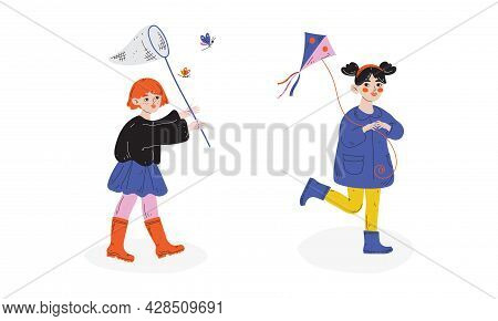 Little Girl In Rubber Boots With Catching Net And Kite Enjoying Spring Season Vector Set