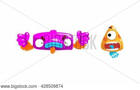Monster With Wide Open Toothy Mouth In Frightening Pose Vector Set