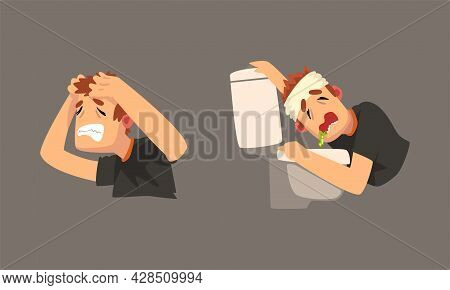 Sick Man With Bandaged Head Having Headache Vomiting In Toilet Bowl Vector Set