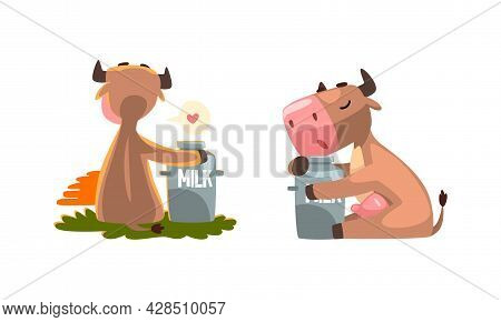 Cute Milk Cow With Udder Embracing Can With Milk Vector Set
