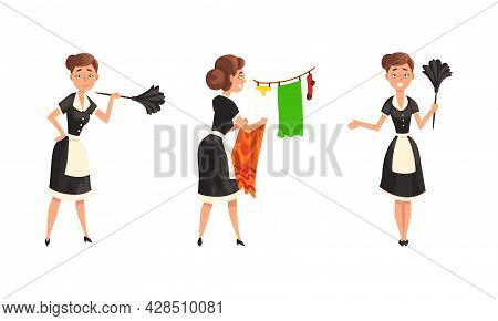 Smiling Maid Or Housemaid In Black Dress And White Apron Dusting And Hanging Laundry On Rope Vector
