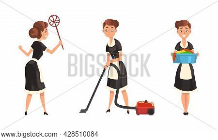 Smiling Maid Or Housemaid In Black Dress And White Apron Doing Laundry And Vacuum Cleaning Vector Se