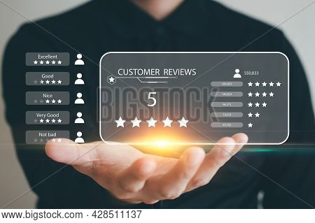 User Give Rating To Service Experience On Online Application, Customer Review Satisfaction Feedback