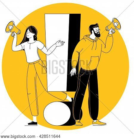 Exclamation Mark. Vector Illustration Of Young Man And Woman With Alert Sign. Concept Of People With