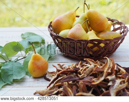 The Season For Harvesting Dried Fruits For Future Use. Natural Background With Dried Fruits. Juicy F