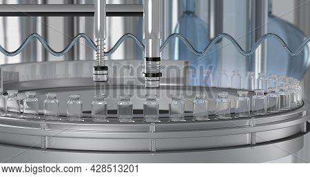 Sars-cov-2 Covid-19 Mass Production Of Coronavirus Vaccine, A Machine Pours The Vaccine, Seals Bottl