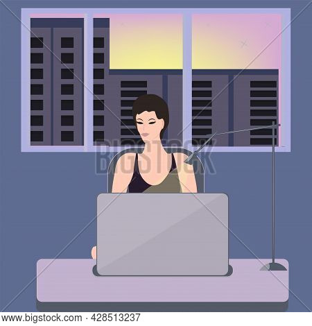 A Woman Works At A Computer, Outside The Window Is A Night City - Vector. At Night, Late In The Even