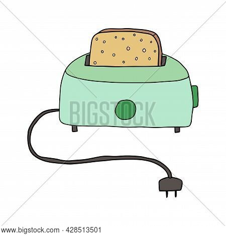 Cute Retro Doodle Toaster With Peace Of Bread Instead. Kitchen Concept, Breakfast.
