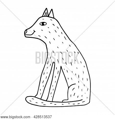 Cartoon Doodle Linear Wolf Sitting Isolated On White Background. Cute Wild Animal.