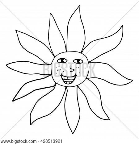 Cartoon Linear Doodle Retro Happy Sun Isolated On White Background.