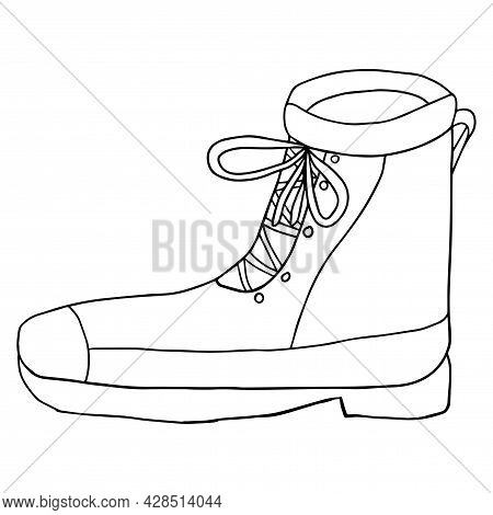Cute Doodle Footwear, Boots Isolated On White Background. Shoes Shop Icon.