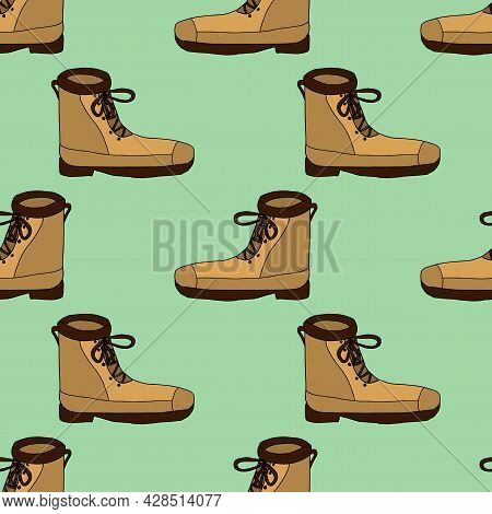 Cute Doodle Footwear, Boots Seamless Pattern. Shoes Shop Background.