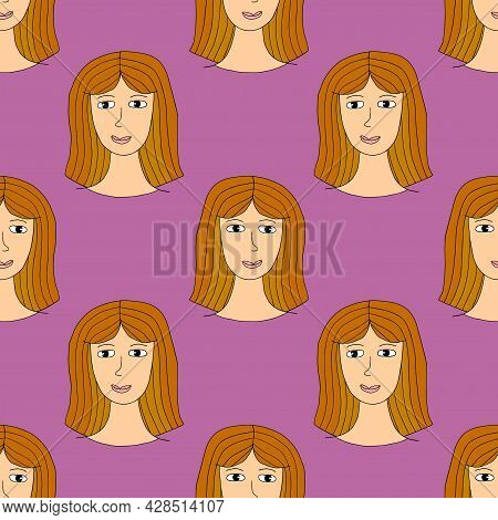 Cute Cartoon Abstract Doodle Girl Portrait Seamless Pattern. Woman Face Background.