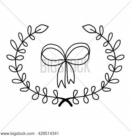 Cute Doodle Wreath Of Hand Drawn Branches And Leaves. Bow Isolated On White Background. Floral Round