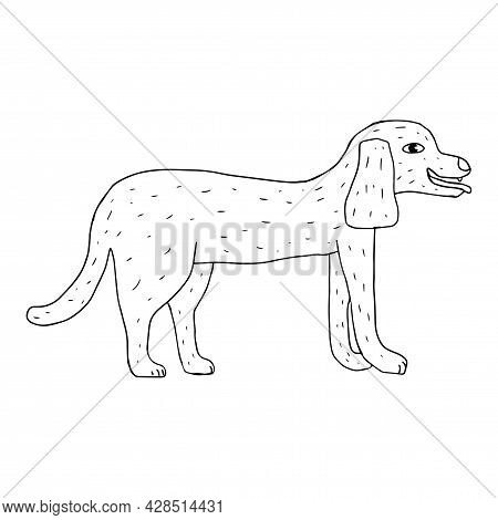 Cartoon Doodle Linear Cute Dog Isolated On White Background. Cute Pet.