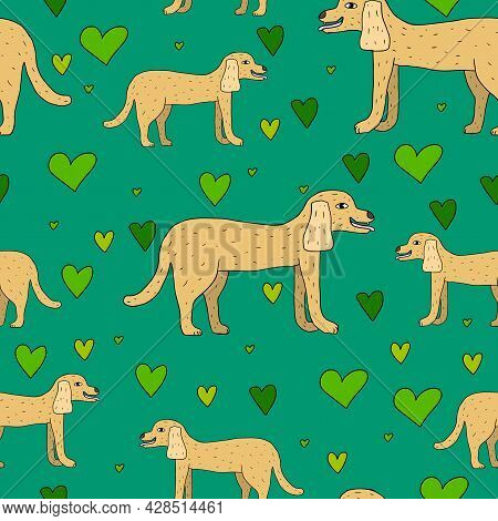 Cartoon Doodle Linear Dog Seamless Pattern. Cute Pet Background With Hearts Confetti.