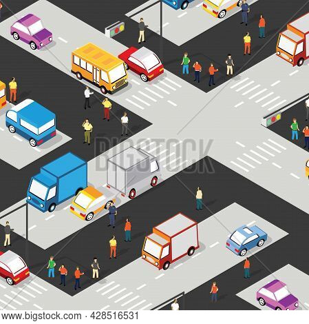 Isometric Crossroads Intersection Of Streets Of Highways With Traffic