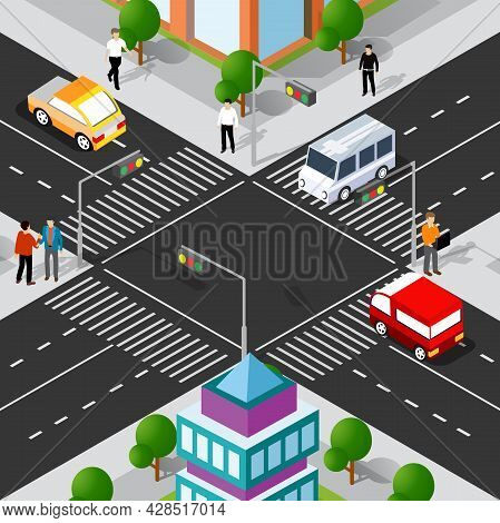 Lifestyle Crossroads Illustration Of The City Block With People