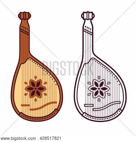 Bandura, Traditional Ukrainian String Musical Instrument. Color And Black And White Drawing. Vector