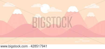 Mountain And Hill Coast Landscape In Pastel Pink Sunrise Colors. Simple Flat Vector Design, Seamless