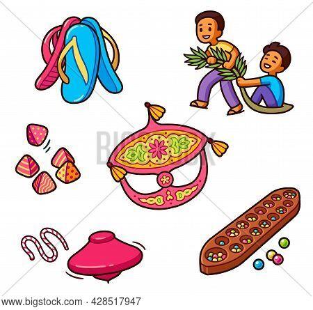 Traditional Malaysian Game Set. Cartoon Drawing Of Fun Games Of Malay Children. Vector Clip Art Illu