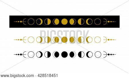 Moon Phases. Silhouette Of Luna And Crescent. Set Of Astronomical Symbols On Black And White Backdro