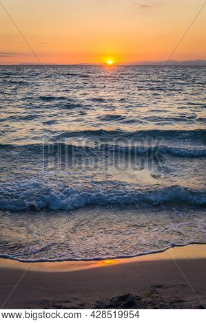 Beautiful Sunrise Over The Sea On The Beach Of Torre Dellorso. Salento Coast, Apulia. Italy, Puglia.