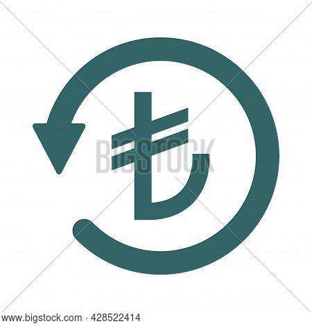 Chargeback Turkish Lira Icon Symbol, Return Turkey Money Isolated On White Background .