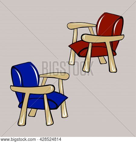 Two Classic Armchairs In The Living Room. Red And Blue. Storage Organization, Minimalism. Room Inter