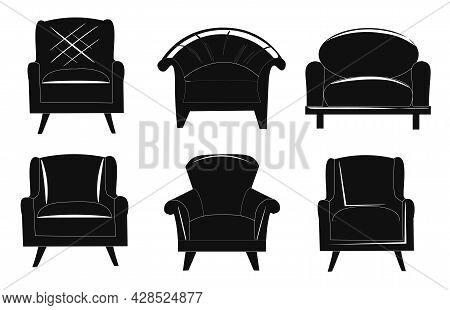 A Set Of Black Stylish Classic And Loft Armchairs. Room Interior, Furniture. All Objects Are Isolate