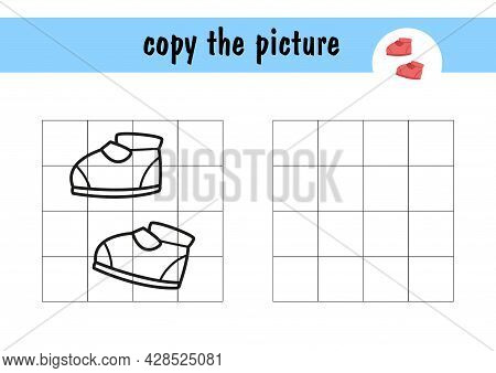 Review The Shoe Pattern, Children S Mini-game On Paper. Copy The Image Of The Boots Using The Grid L