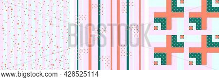 Set Of Vector Seamless Pattern With Stripes, Polka Dots, Square, Lines In Gentle Tone As Terra Cotta
