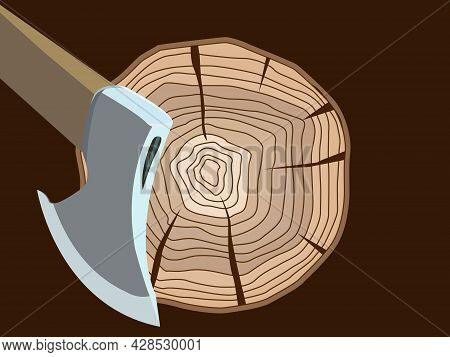 Vector Illustration Depicting A Lumberjack Ax And A Log In A Cartoon Style For Prints On Banners, Po