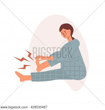 Young Woman Having A Foot Sole Cramp, Feeing Pain And Suffering For This. Vector Illustratin In Tren