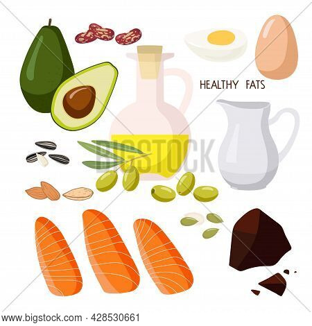 Halthy Fats Food. High Fat Food Isolated On White. Olive Oil And Olives, Avocado, Fish And Nuts., Cr