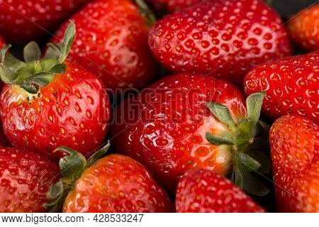 Strawberry Background. Strawberries As Pattern Texture. Red Sweet Fresh Strawberries As Texture. Str