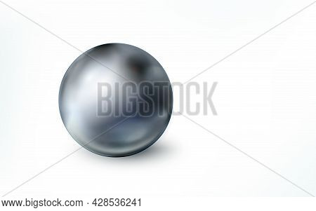 Realistic Metal Sphere Isolated On White Background. Orb. Grey Polished Glossy Ball, Chrome Metallic