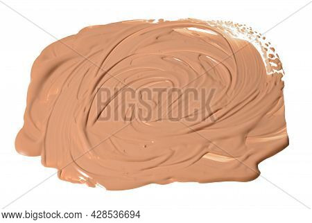 Round Swatch Of Beige Liquid Concealer Face Cream On White Isolated Background, Liquid Is Squeezed O