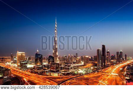 Amazing Sunset Dubai Downtown Skyline With Tallest Skyscrapers And Beautiful Blue Sky, Dubai, United