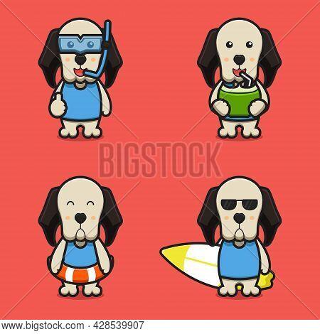 Set Of Cute Dog Mascot Cartoon With Beach Theme Cartoon Vector Icon Illustration. Design Isolated On