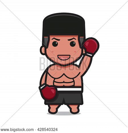 Cute Boxer Character With Winner Pose Cartoon Vector Icon Illustration. Boxing Sport Icon Concept Is