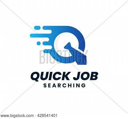Quick Job Logo Template Design. Letter Q Logo. Fast Tie Vector Illustration