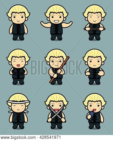 Set Of Cute Boy Character With Martial Art Theme Cartoon Vector Icon Illustration. Design Isolated O