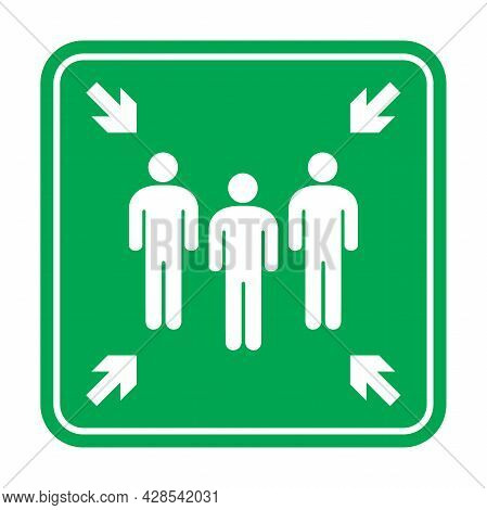 Fire Assembly Point Sign, Gathering Point Signboard, Emergency Evacuation Vector For Graphic Design,
